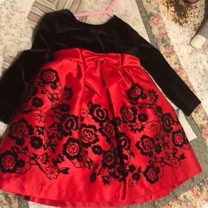Rare Editions black and red flower dress 12mo